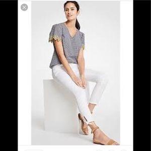 🕶 Ann Taylor ankle tie skinny curvy crop jeans